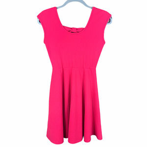 Miami Fit Flare Skater Pink Dress Bow